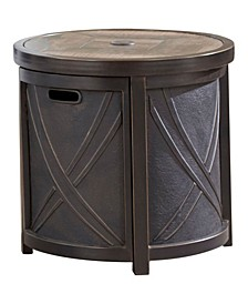 "25"" Round Umbrella Side Table with Tile Tabletop - 23"" x 25"" x 93.7"""