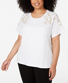 Calvin Klein Plus Size Embroidered-Floral Top