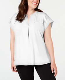 Calvin Klein Plus Size Split-Neck Pocket Top