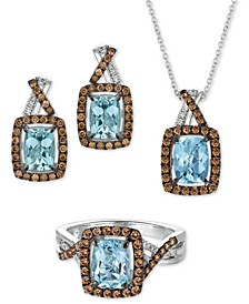 Sea Blue Aquamarine & Diamond Jewelry Collection in 14k White Gold
