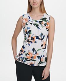 DKNY Floral-Print Crewneck Top