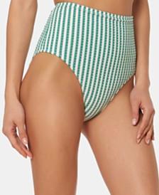 Jessica Simpson Gingham High-Waist Bikini Bottoms