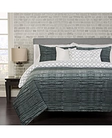 Interweave Contemporary Reversible 6 Piece Queen Luxury Duvet Set