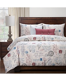 Siscovers Posctscript Blue 6 Piece Full Size Luxury Duvet Set