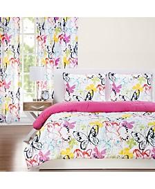 Crayola Flutterby 5 Piece Twin Luxury Duvet Set
