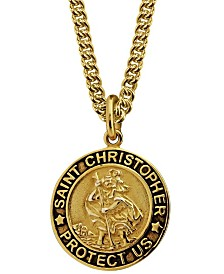 Sutton Gold Plated Sterling Silver Saint Christopher Pendant Necklace