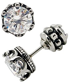 Sutton Stainless Steel Double Sided Cubic Zirconia Crown Stud Earrings