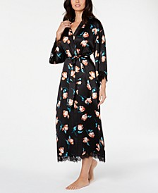 INC Lace-Trim Printed Wrap Robe, Created for Macy's