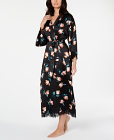 I.N.C. Lace-Trim Printed Wrap Robe, Created for Macy's