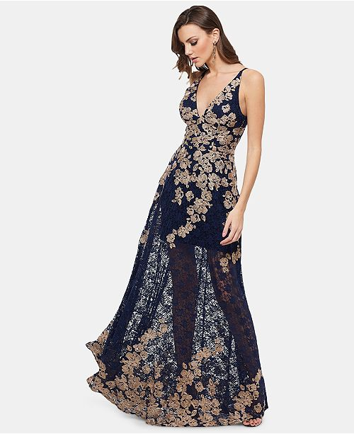 f34a2f2bc09 XSCAPE Embroidered Lace Gown   Reviews - Dresses - Women - Macy s