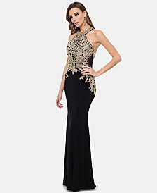 Xscape Embroidered Open-Back Halter Gown