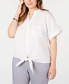 Plus Size Linen Tie-Front Top, Created for Macy's