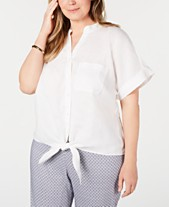 4d0ee76e Charter Club Plus Size Linen Tie-Front Top, Created for Macy's