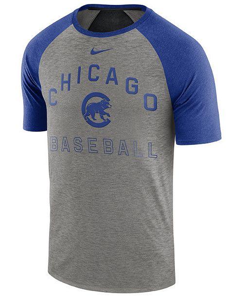 Nike Men's Chicago Cubs Dry Slub Short Sleeve Raglan T-Shirt
