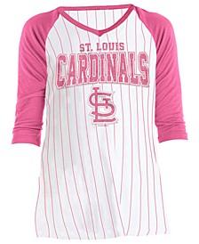 Big Girls St. Louis Cardinals Girls Pinstripe Raglan T-Shirt