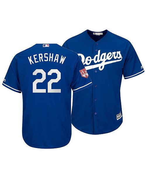 49def91d9 ... Majestic Men s Clayton Kershaw Los Angeles Dodgers Spring Training  Patch Replica Cool Base Jersey ...