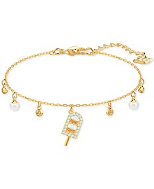 Swarovski Gold-Tone Crystal & Imitation Pearl Ice Cream Charm Bracelet