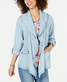 Style & Co Petite Draped Chambray Jacket, Created for Macy's