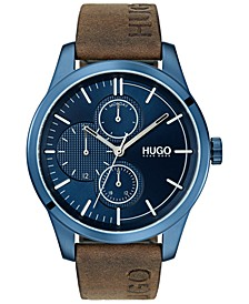 Men's #Discover Brown Leather Strap Watch 46mm