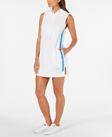 Calvin Klein Performance Striped Sleeveless Hoodie Dress
