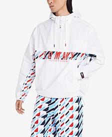 Men's Addison Geometric-Print Logo Hooded Windbreaker