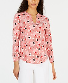 Anne Klein Printed Split-Neck Top