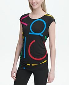 Calvin Klein Logo-Print Ruched Top