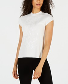 Anne Klein Embellished Mock-Neck Top
