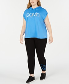 Calvin Klein Performance Plus Size Short-Sleeve Hoodie & Logo Leggings