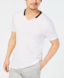 Alfani Men's Contrast Collar Linen Blend T-Shirt, Created for Macy's