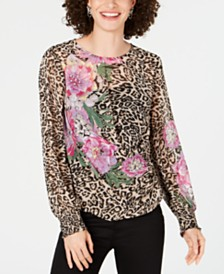 I.N.C. Embellished Leopard-Print Top, Created for Macy's
