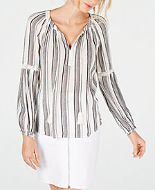I.N.C. Petite Lurex Stripe Peasant Top, Created for Macy's