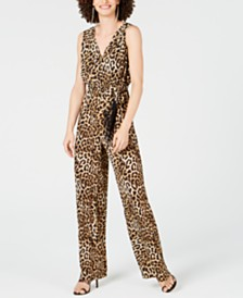 I.N.C. Leopard Fringe-Belt Wide-Leg Jumpsuit, Created for Macy's