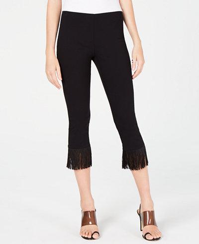 I.N.C. Petite Fringe-Hem Ankle Pants, Created for Macy's