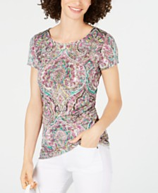 I.N.C. Ruched-Side Short-Sleeve Top, Created for Macy's