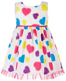 Blueberi Boulevard Baby Girls Colorful Heart-Print Dress