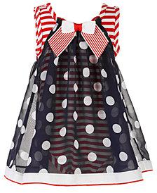 Bonnie Baby Baby Girls Red, White & Blue Dot-Print Chiffon Bubble Romper