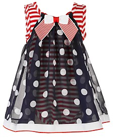 Bonnie Baby Baby Girls Red, White & Blue Dot-Print Chiffon Bubble Romper