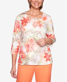 Alfred Dunner Martinique Square-Neck 3/4-Sleeve Top