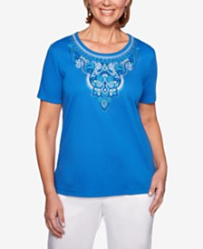 Alfred Dunner Waikiki Embroidered Studded Top