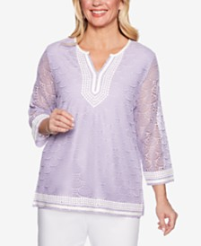 Alfred Dunner Catalina Island Mesh Contrast-Trim Top