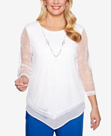 Alfred Dunner Waikiki Mesh Attached-Necklace Top
