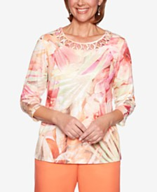 Alfred Dunner Martinique Lattice-Neck 3/4-Sleeve Top
