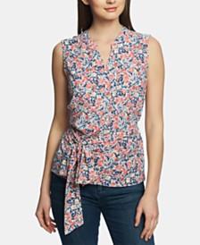 1.STATE Floral-Print Tie-Waist Top