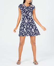 MICHAEL Michael Kors Reef-Print Fit & Flare Dress, Regular & Petite