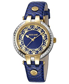 By Franck Muller Women's Swiss Quartz Navy Calfskin Leather Strap Watch, 34mm