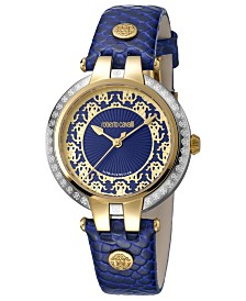 Roberto Cavalli By Franck Muller Women's Swiss Quartz Navy Calfskin Leather Strap Watch, 34mm