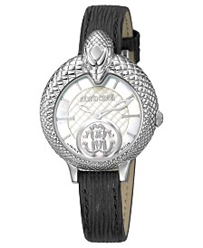 Roberto Cavalli By Franck Muller Women's Swiss Quartz Black Calfskin Leather Strap Watch, 34mm