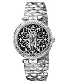 Roberto Cavalli By Franck Muller Women's Swiss Quartz Silver Stainless Steel Bracelet Black Dial Watch, 34mm