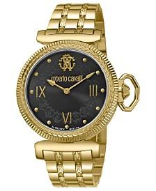 Roberto Cavalli By Franck Muller Women's Swiss Quartz Gold Stainless Steel Bracelet Watch, 38mm